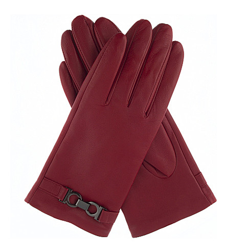 DENTS Hardware-detail leather gloves (Berry