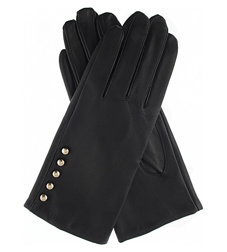 DENTS Button leather gloves (Black