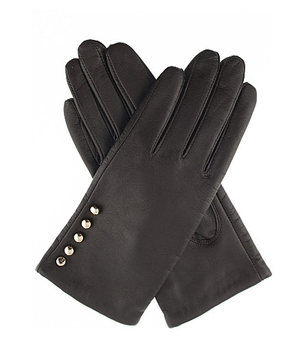 DENTS Button leather gloves (Mocca