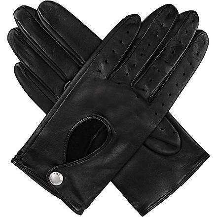 DENTS Keyhole leather driving gloves (Black