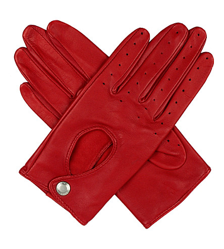 DENTS Leather keyhole driving gloves (Berry