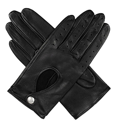 DENTS Leather keyhole driving gloves (Black