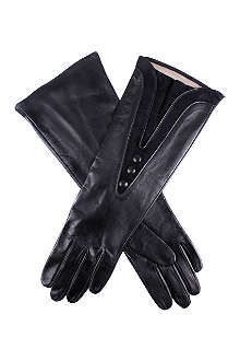 DENTS Suede detail silk lined leather gloves