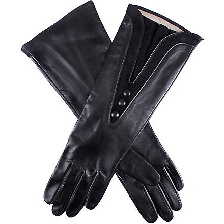 DENTS Suede detail silk lined leather gloves (Black