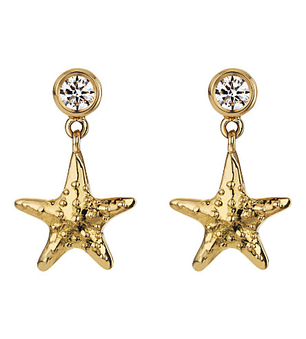 THEO FENNELL 18ct yellow-gold and diamond starfish earrings