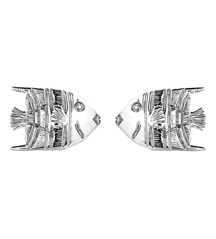 THEO FENNELL 18ct white-gold Angel Fish stud earrings