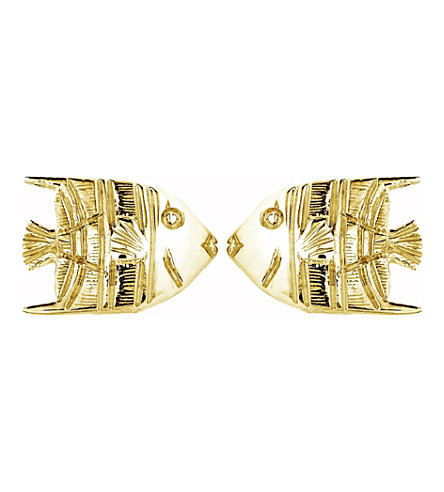THEO FENNELL 18ct yellow-gold Angel Fish stud earrings