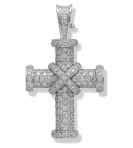 THEO FENNELL 18ct white-gold and diamond Baby Cross pendant