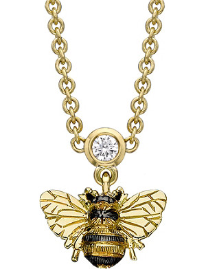 THEO FENNELL Bee 18ct yellow-gold and diamond drop necklace
