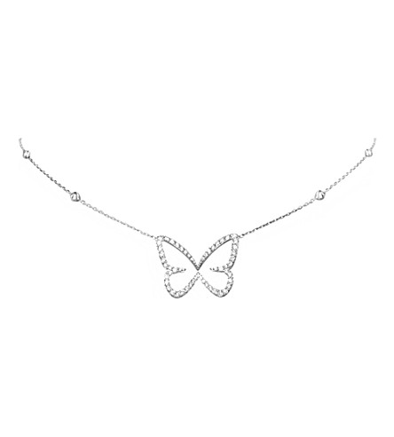 MESSIKA 18ct white-gold and diamond open-back butterfly necklace