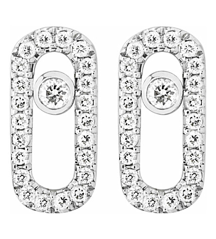 MESSIKA Move Uno 18ct white-gold and diamond-set stud earrings