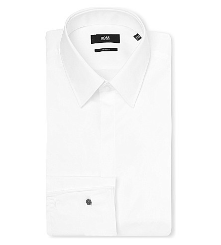 BOSS BLACK FORMAL Ilias slim-fit cotton shirt (White