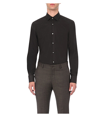 BOSS BLACK FORMAL Jenno slim-fit single-cuff shirt (Black