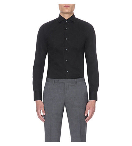 BOSS BLACK FORMAL Slim-fit cotton shirt (Black