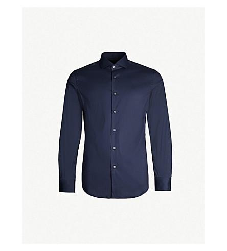 BOSS Slim-fit cotton-blend shirt (Navy