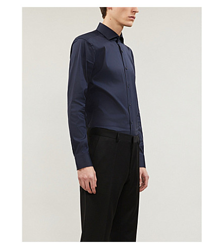 BOSS BLACK FORMAL Slim-fit cotton-blend shirt (Navy