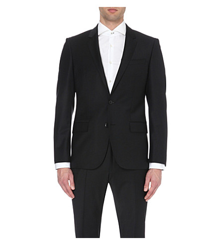 BOSS Single-breasted wool-blend jacket (Black