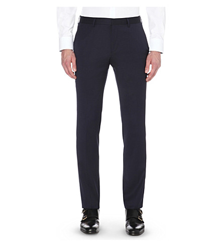 HUGO BOSS Slim-fit wool-blend trousers (Navy