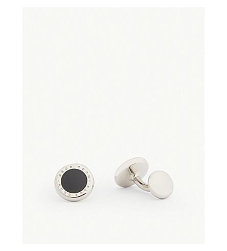 BOSS Enamel insert circle cufflinks (Black