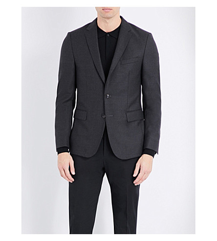 BOSS Slim-fit wool jacket (Dark+grey