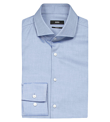 HUGO BOSS Slim-fit cotton shirt (Bright+blue