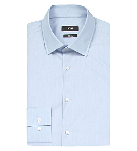 HUGO BOSS Slim-fit stretch-cotton shirt (Light/pastel+blue