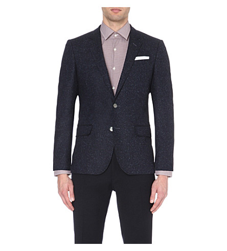 BOSS Flecked single-breasted wool-blend jacket (Dark+blue