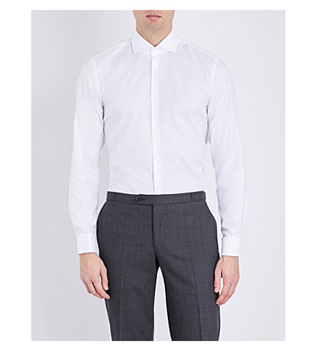 BOSS Slim-fit cotton-poplin shirt (White