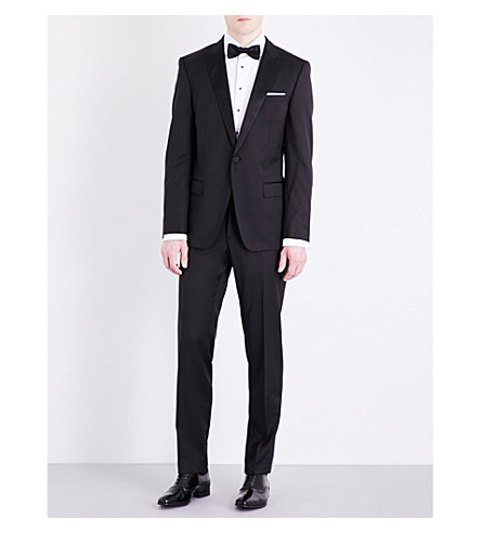 BOSS Silk-detail peak-lapel slim-fit wool tuxedo (Black