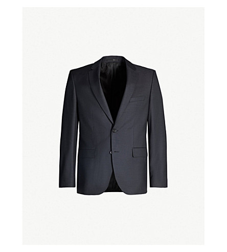 BOSS Birdseye slim-fit wool jacket (Charcoal