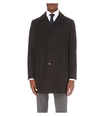BOSS Single-breasted cotton-blend coat (Black