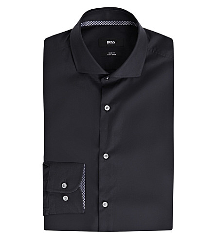 BOSS Slim-fit cotton shirt (Dark+blue