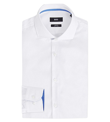 BOSS 修身版型棉衬衫 (白色