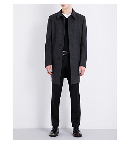 BOSS Striped single-breasted wool-blend coat (Charcoal