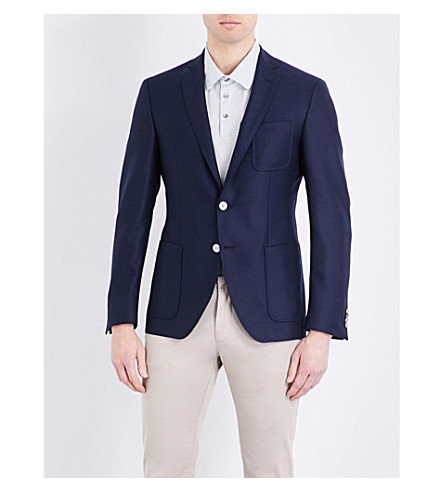 BOSS Regular-fit wool blazer (Medium+blue