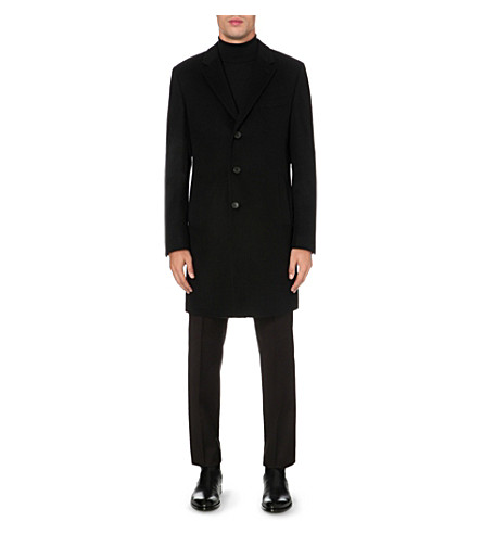 BOSS Regular-fit wool and cashmere-blend coat (Black