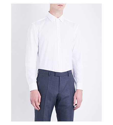 BOSS Slim-fit cotton Oxford shirt (White