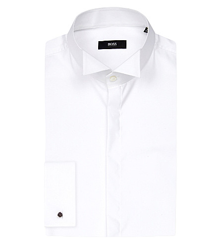 BOSS BLACK FORMAL Wing collar cotton shirt (White