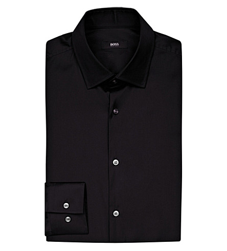 BOSS BLACK FORMAL Regular-fit cotton shirt (Black