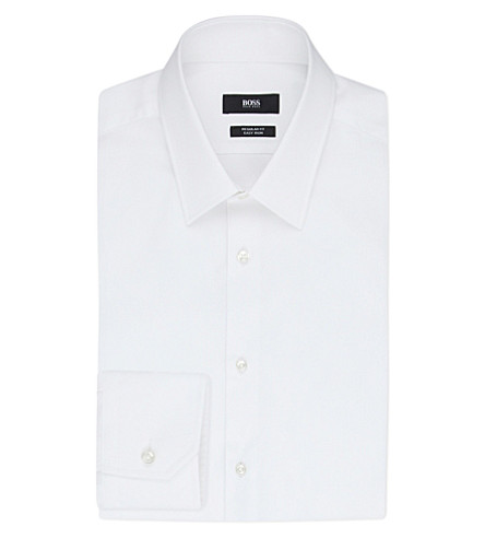 BOSS BLACK FORMAL Regular-fit cotton shirt (White