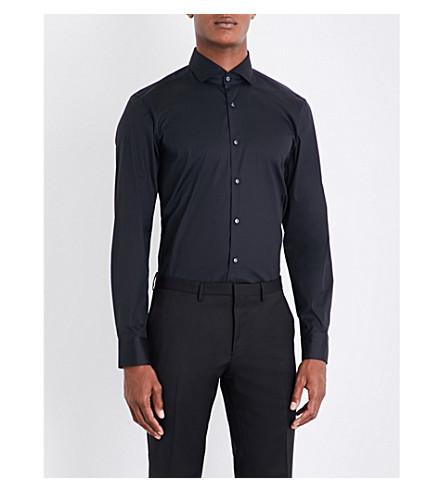 BOSS Slim-fit cotton-blend shirt (Black