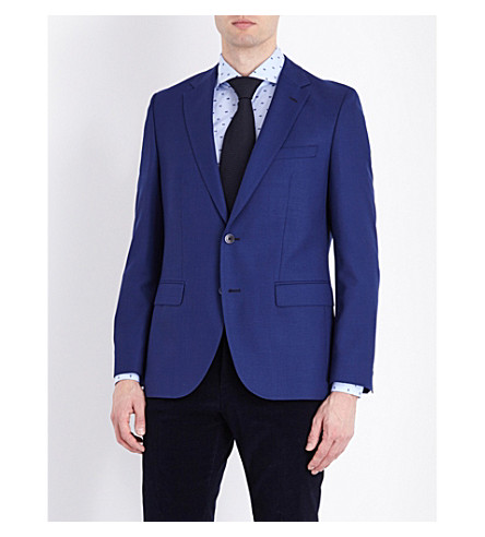 BOSS Textured wool blazer (Medium+blue
