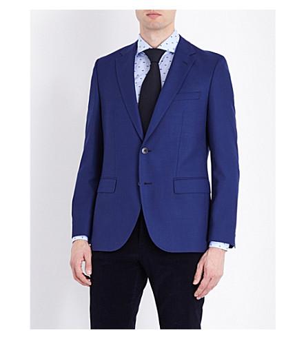 BOSS 纹理羊毛西装外套 (中 + 蓝