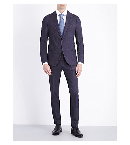 BOSS Slim-fit patterned wool suit (Charcoal