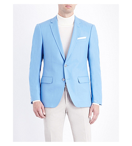 BOSS Textured cotton jacket (Light/pastel+blue