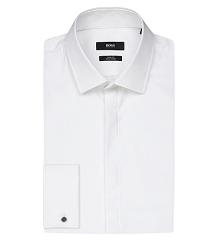 BOSS BLACK FORMAL Slim-fit cotton shirt (White