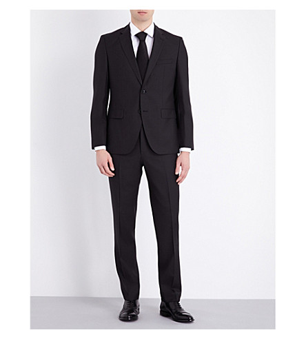 BOSS Slim-fit wool and silk-blend suit (Black