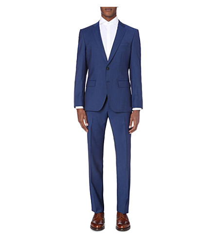 BOSS 120's slim-fit wool suit (Dark+blue