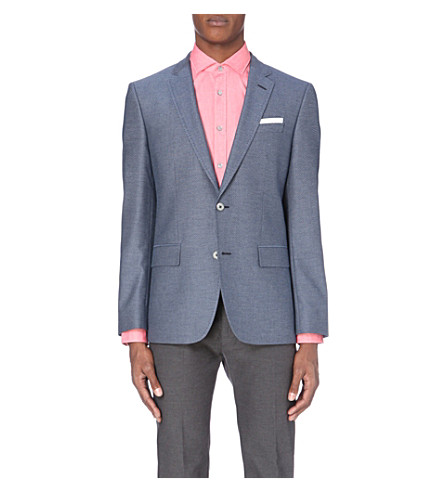 BOSS Extra slim-fit cotton-blend blazer (Bright+blue