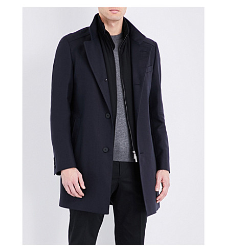 BOSS Stand Collar cotton-blend coat (Dark+blue
